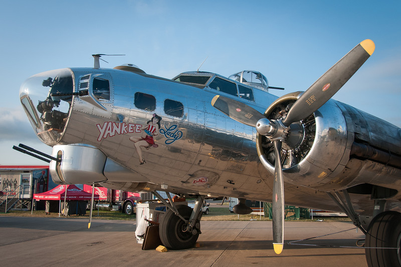 A B-17 Flying Fortress Yankee Lady warbird on display at the EAA Show 2012 in Wisconsin