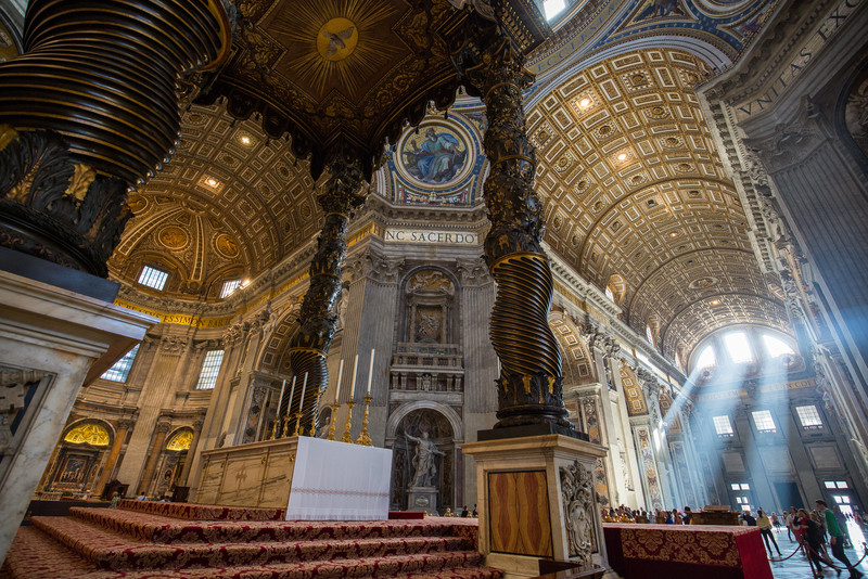 More detail of Bernini's baldacchino and the high altar at St. Peter's Basilica.