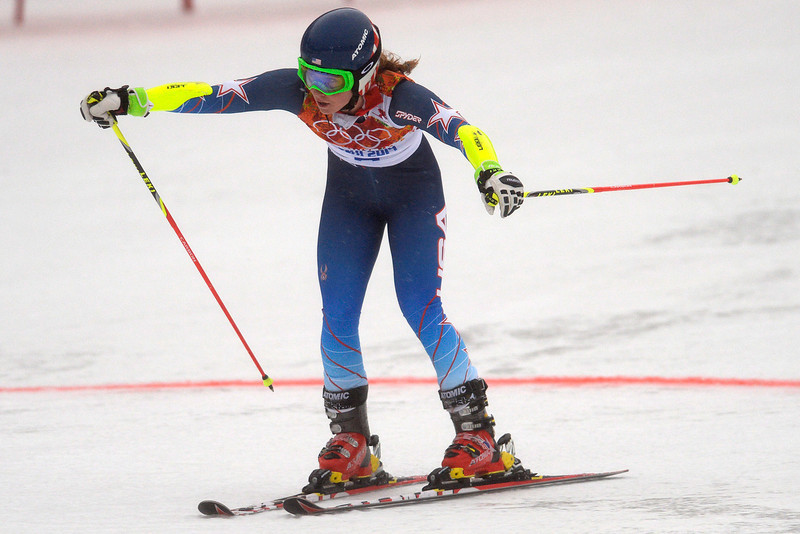 . U.S.A. skier Mikaela Shiffrin crosses the line during the first round of the ladies\' giant slalom. Sochi 2014 Winter Olympics on Tuesday, February 18, 2014. (Photo by AAron Ontiveroz/The Denver Post)
