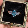 1.73ctw Blue Marquise Cut Diamond Trilogy Ring 5
