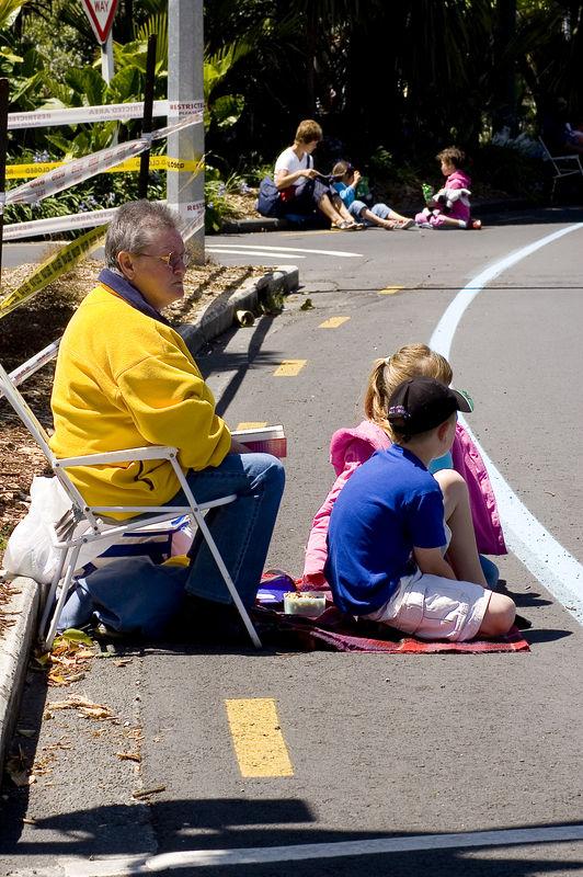 Waiting for the parade along Mayoral Drive Santa Parade Auckland  New Zealand - 27 Nov 2005