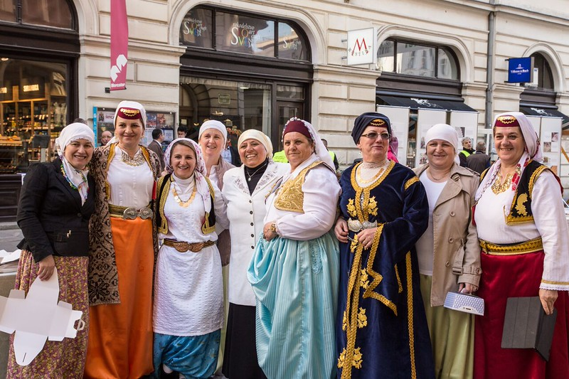 Women dressed in traditional Bosnian costumes.