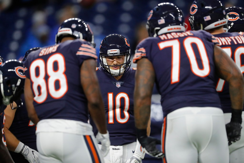 . Chicago Bears quarterback Mitchell Trubisky huddles during the first half of an NFL football game against the Detroit Lions, Saturday, Dec. 16, 2017, in Detroit. (AP Photo/Paul Sancya)