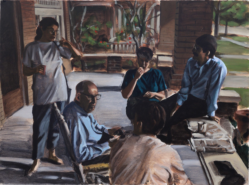 Untitled (family group on porch), acrylic on paper, 22 x 30 in, circa 1991-2