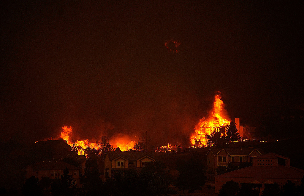 . An entire neighborhood burns near the foothills of Colorado Springs after the fire roared out of the foothills and into Colorado Springs subdivisions. Helen H. Richardson, The Denver Post