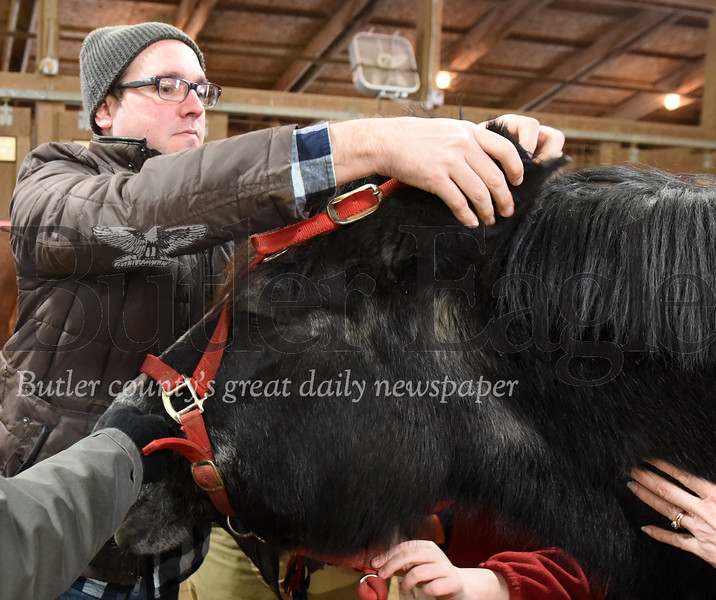 Harold Aughton/Butler Eagle: As part of the community engagement part of the program, Chris Smith, program manager of ASD Educational Services at Glade Run, straps a bridal onto Pumpkin, a 26-year-old, Percheron during the Equine Assisted Wellness Workshop, Sunday, February 2, 2020.