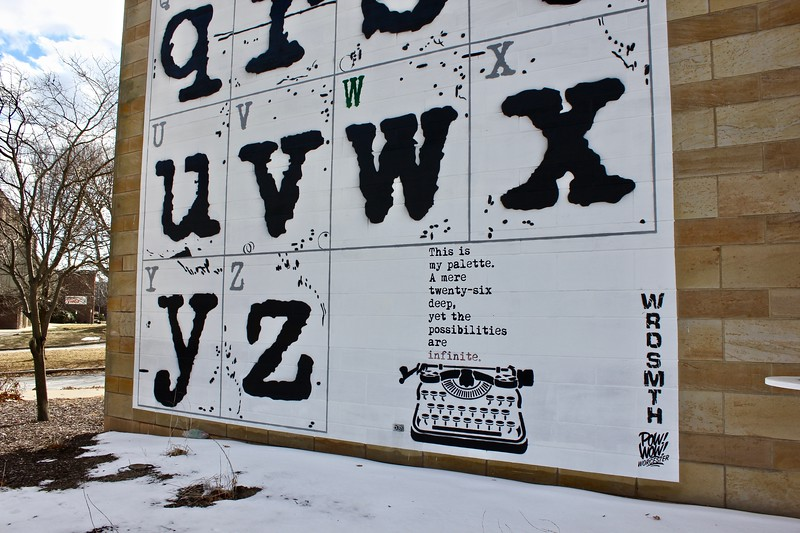 WRDSMTH mural on the Worcester Public Library in Worcester, Massachusetts