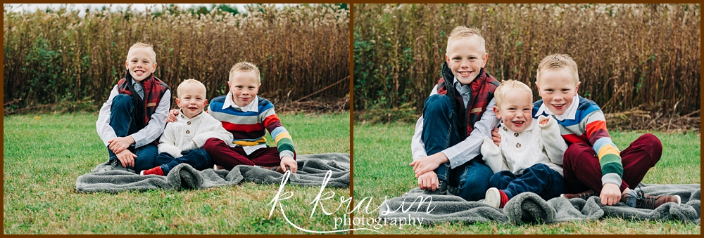 Collage of photos of boys sitting in front of field of plants
