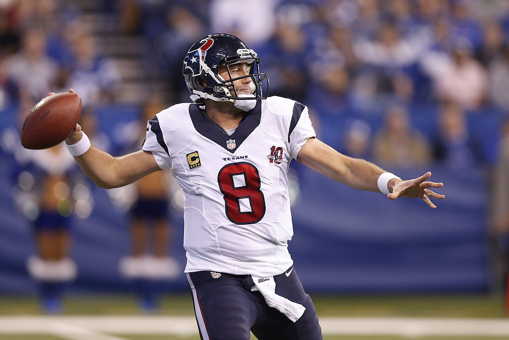 . Matt Schaub #8 of the Houston Texans looks to pass the ball against the Indianapolis Colts during the game at Lucas Oil Stadium on December 30, 2012 in Indianapolis, Indiana. (Photo by Joe Robbins/Getty Images)