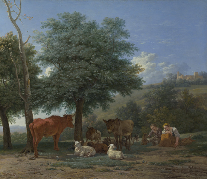 Farm Animals with a Boy and Herdswoman