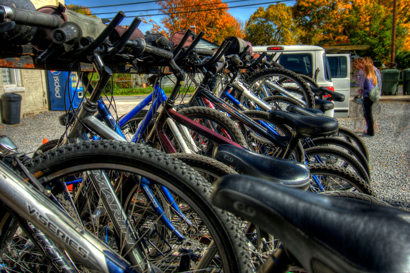 Bicycles loaded on a carrier at the Virginia Creeper Trail Bike Shop in Abingdon, VA on Friday, October 19, 2012. Copyright 2012 Jason Barnette