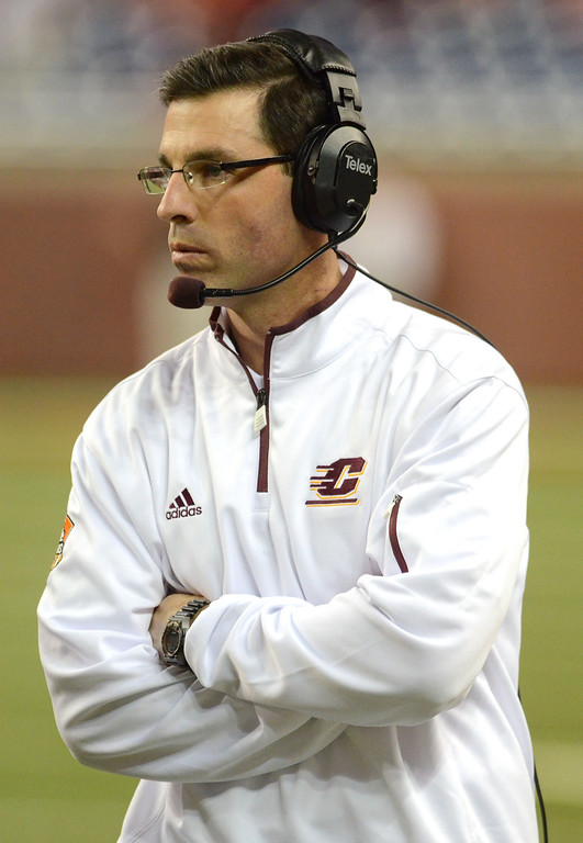 . DETROIT, MI - DECEMBER 26:  Head Coach Dan Enos of the Central Michigan University Chippewas looks on during the first quarter of the Little Caesars Pizza Bowl against the Western Kentucky University Hilltoppers at Ford Field on December 26, 2012 in Detroit, Michigan.  (Photo by Mark A. Cunningham/Getty Images)