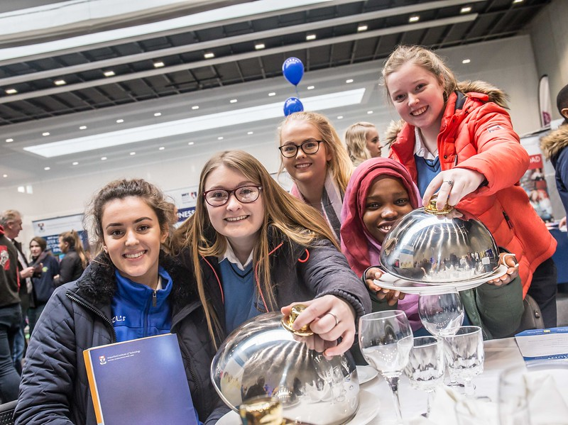 Megan O'Connor, Ciara Brett, Niamh Treacy, Charlotte Walsh and Mayowa Ishola, Mercy Secondary School, Waterford during the Waterford Institute of Technology Schools' Open Day at the WIT Arena. On Saturday, 20 January, WIT is running another open day, the #StudyatWIT Open Day which will have information available on all courses available across WIT's schools of Lifelong Learning, Humanities, Engineering, Science & Computing, Health Sciences, Business. Picture: Pat Moore