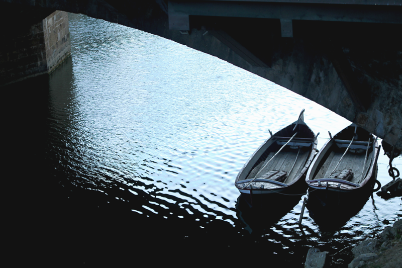 """2 Canoes Under the Pontevecchio Bridge"", Florence, Italy"