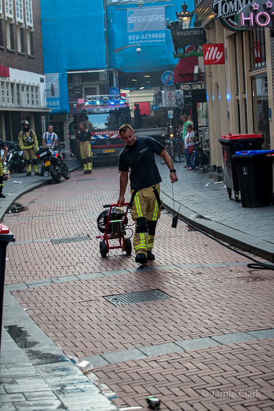 Fire at the restaurant next to our hotel,  Amsterdam - July 2014