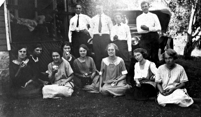Back row:  Martin Langen, _____, ______. and Joe Von Arx Front row: _____, Lena Von Arx?, Marie Langen, Bertha Von Arx, Vernie (Tschumper) Von Arx,  Kate (Von Arx) Boma, Verna (Von Arx) Hutzenbuhler , and ________ .
