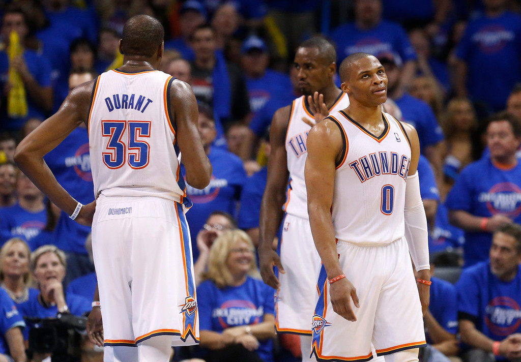 . Oklahoma City Thunder guard Russell Westbrook (0) reacts to an official\'s call in the third quarter of Game 1 of the Western Conference semifinal NBA basketball playoff series against the Los Angeles Clippers in Oklahoma City, Monday, May 5, 2014. Los Angeles won 122-105. (AP Photo/Sue Ogrocki)