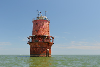Thimble Shoals Lighthouse, Virginia, first put into service in 1914. © 2020 Kenneth R. Sheide