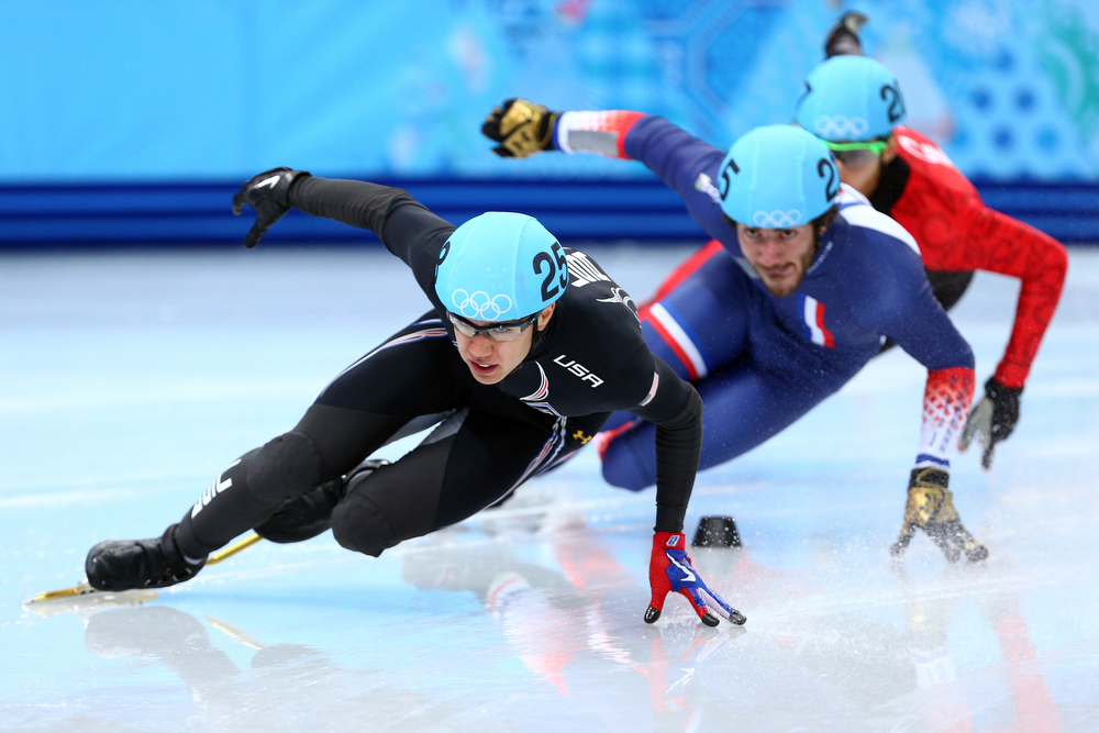 . J.R. Celski of the United States leads the pack in the Short Track en\'s 500m Heat at Iceberg Skating Palace on day 11 of the 2014 Sochi Winter Olympics on February 18, 2014 in Sochi, Russia.  (Photo by Paul Gilham/Getty Images)