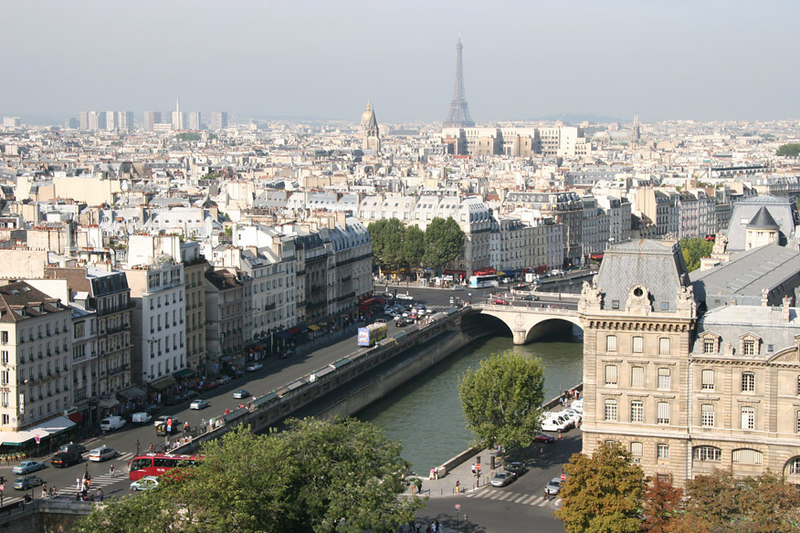 View from Notre Dame over the Seine towards the Eiffel Tower