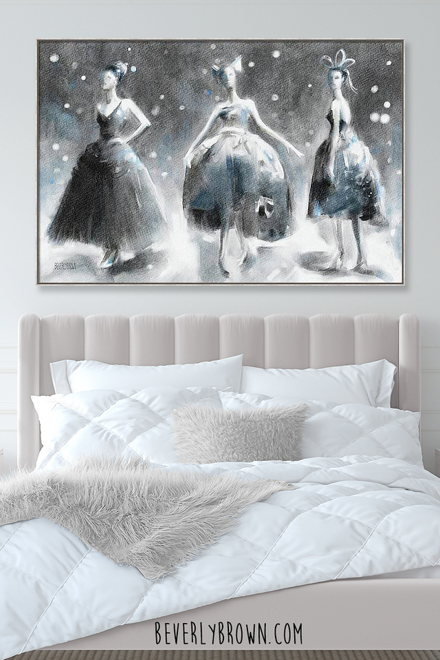 Vintage wall art by Beverly Brown in a chic bedroom over the bed.