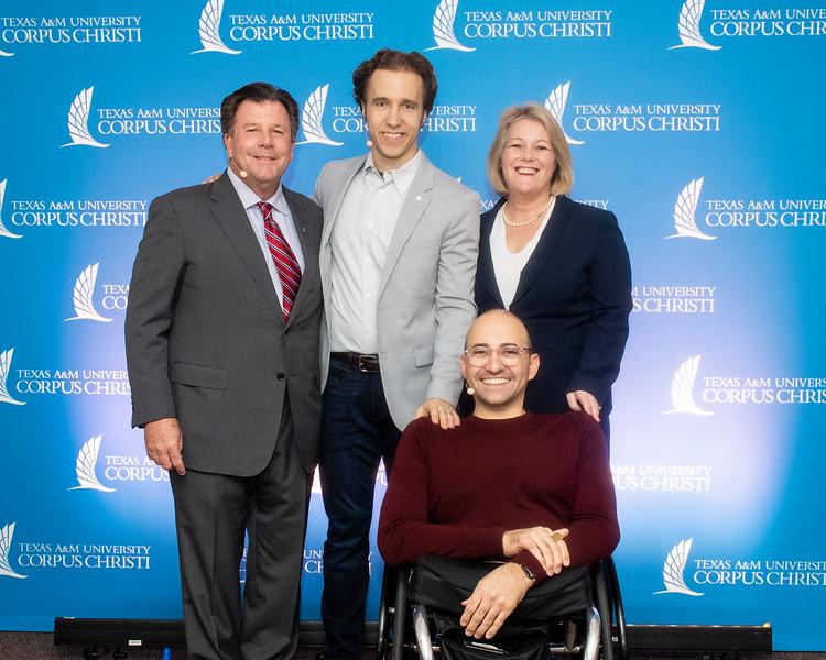 Tom Mundell (left) Craig Kielburger, Kelly Quintanilla, Spencer West.