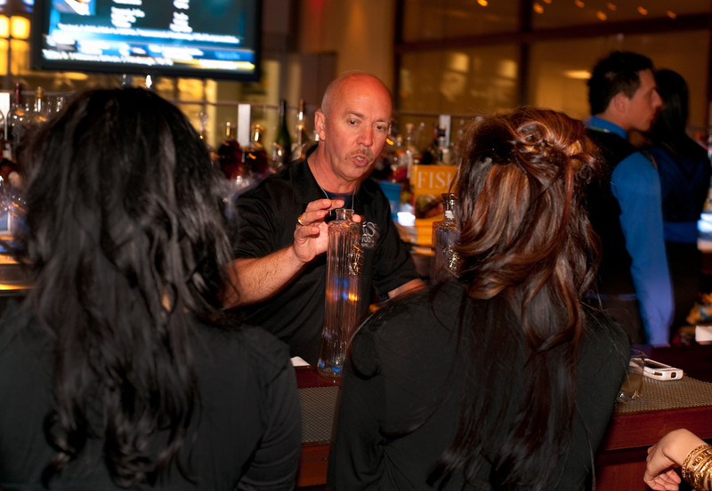 """Photographs of Earth Hour event at Rick Moonen's RM restaurant in Mandalay Bay Resort in celebration of """"Earth Hour,"""" a global event with over 200 cities around the world participating by cutting their electricity for 1 hour, trying """"Conserve Energy Today For Tomorrow."""""""