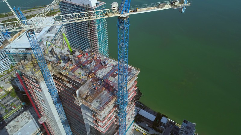 Cranes and condominiums aerial video