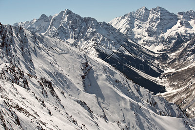 Pyramid Peak and the Maroon Bells from the top of Highlands Bowl, Aspen, CO
