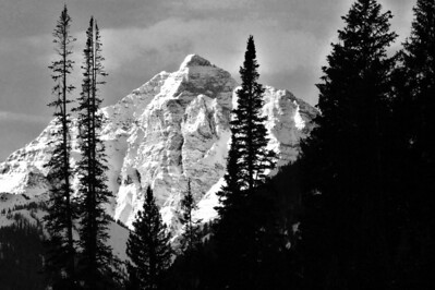 Maroon Bells in Winter (B&W) - Aspen, CO