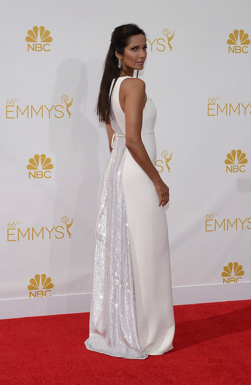 . Padma Lakshmi on the red carpet at the 66th Primetime Emmy Awards show at the Nokia Theatre in Los Angeles, California on Monday August 25, 2014. (Photo by John McCoy / Los Angeles Daily News)