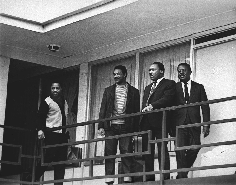 . The Rev. Martin Luther King Jr. stands with other civil rights leaders on the balcony of the Lorraine Motel in Memphis, Tenn., on April 3, 1968, a day before he was assassinated at approximately the same place. From left are Hosea Williams, Jesse Jackson, King, and Ralph Abernathy. The 39-year-old Nobel Laureate was the proponent of non-violence in the 1960\'s American civil rights movement. King is honored with a national U.S. holiday celebrated in January.    (AP Photo)