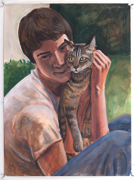 Boy and Cat; acrylic on paper, 22 x 30 in, 2000