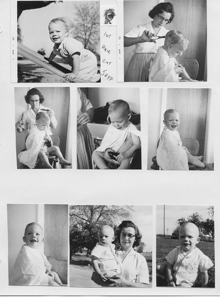 Jeff's first haircut. Scanned album Ruben-Frankie