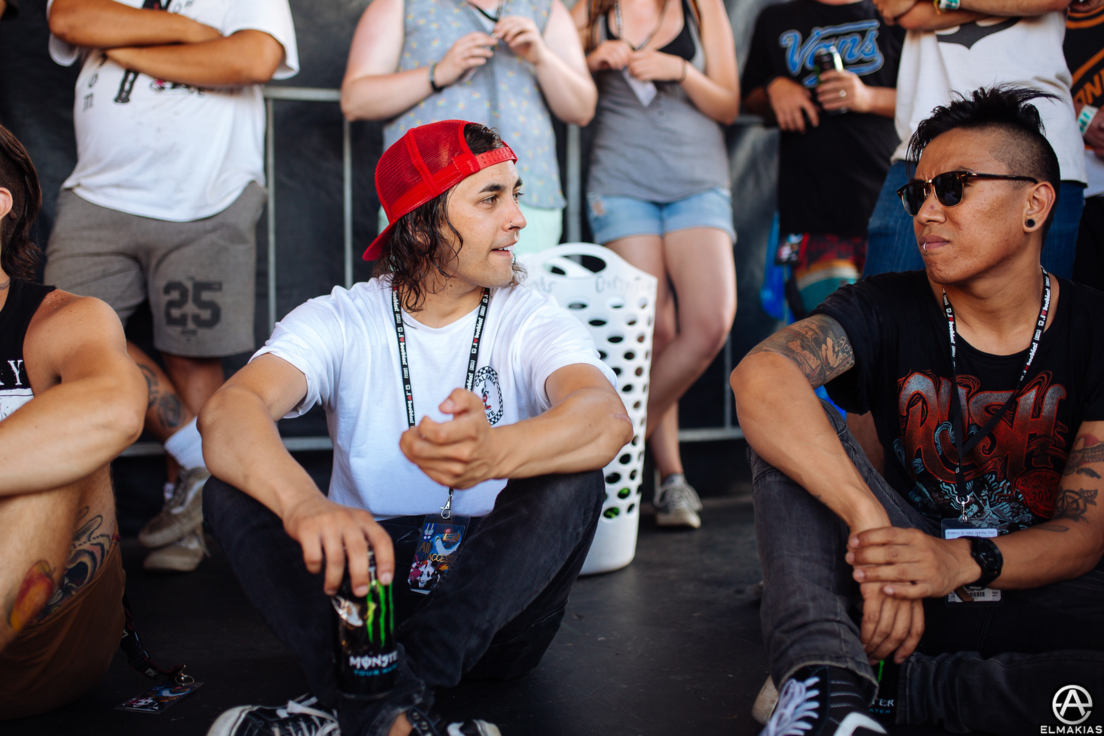 Vic Fuentes of Pierce The Veil and Jesse Barrera at Vans Warped Tour 2015 by Adam Elmakias