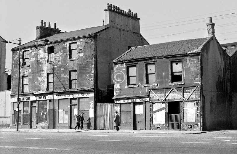Eglinton St, west side between Wallace St and Nelson St.   The Wee Red Shop - anyone remember what it sold?  April 1973