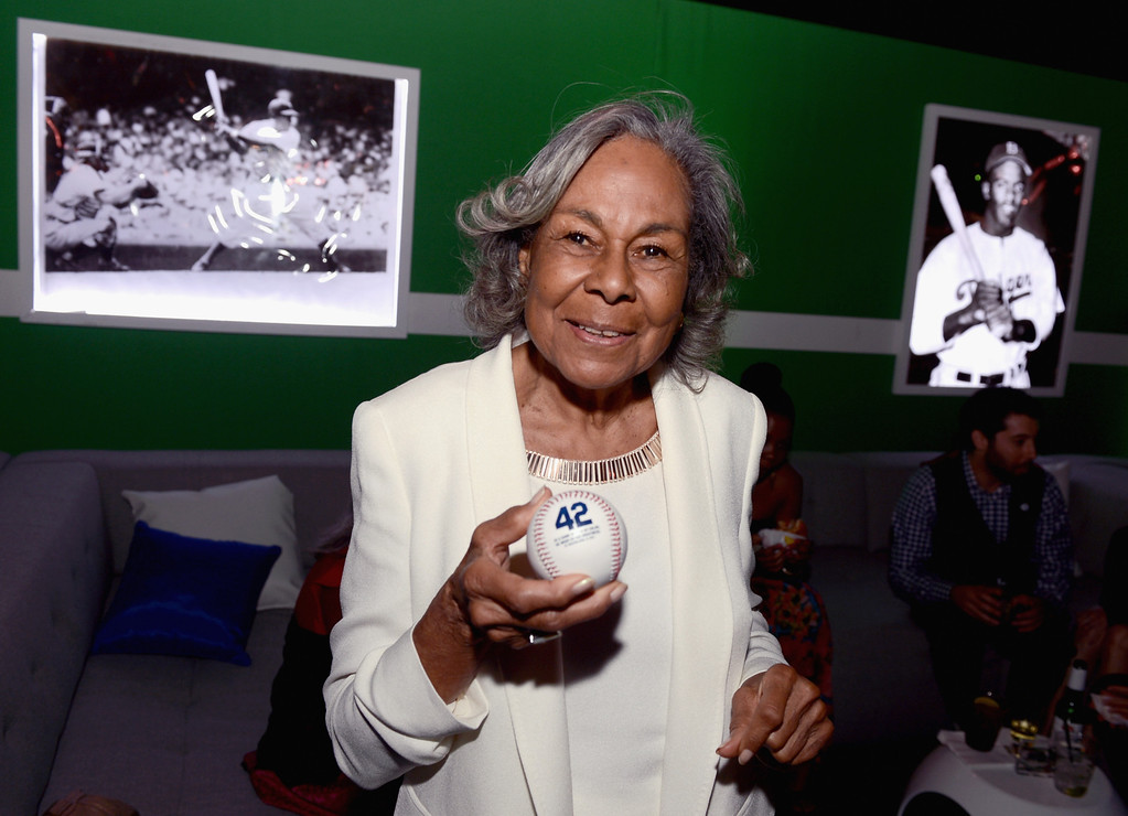 ". Widow of baseball player Jackie Robinson, Rachel Robinson attends the after party for the Los Angeles premiere of Warner Bros. Pictures\' and Legendary Pictures\' ""42\"" on April 9, 2013 in Hollywood, California.  (Photo by Kevin Winter/Getty Images)"