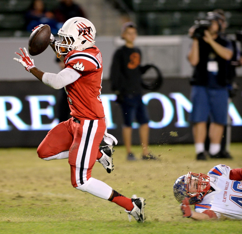 . Redlands East Valley High School competes against Clayton Valley Charter for the CIF-State Division II championship on Saturday, December 20, 2014 at StubHub Center in Carson, Ca. (Photo by Micah Escamilla/Redlands Daily Facts)