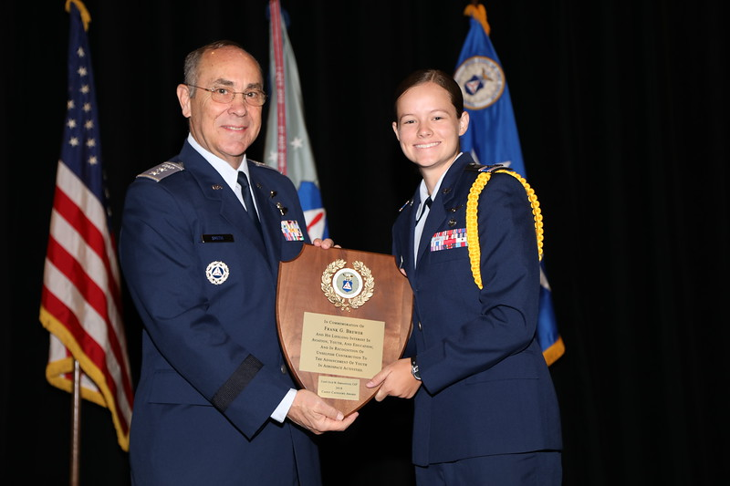 The Frank G. Brewer - Civil Air Patrol Memorial Aerospace Award, Cadet Category is presented to Cadet Julia Demyanovich.  Photo by Susan Schneider, CAPNHQ