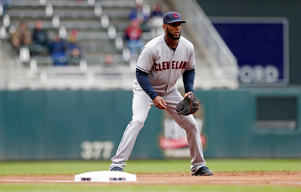 . Cleveland Indians\' Yandy Diaz defends third base against the Minnesota Twins in the a baseball game Thursday, April 20, 2017, in Minneapolis. (AP Photo/Jim Mone)