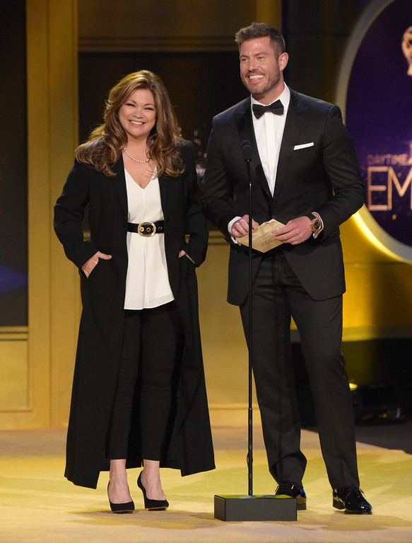 . Valerie Bertinelli, left, and Jesse Palmer present the award for outstanding informative talk show host at the 45th annual Daytime Emmy Awards at the Pasadena Civic Center on Sunday, April 29, 2018, in Pasadena, Calif. (Photo by Richard Shotwell/Invision/AP)