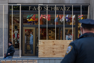 Stores Boarded Up In NYC