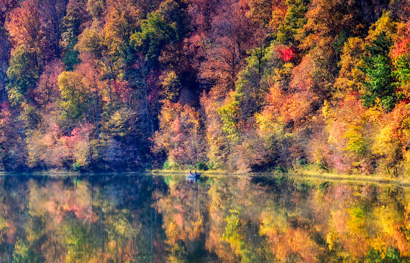 Fall reflections on a lake - Oxford, Alabama