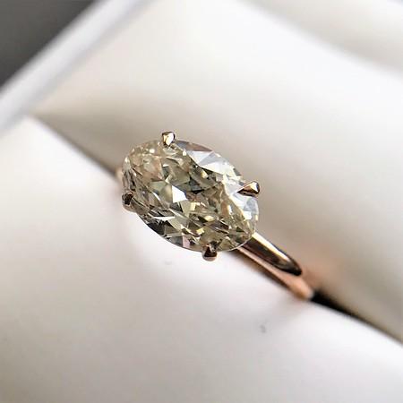 1.64ct Antique Oval Cut Diamond Solitaire GIA M VVS2
