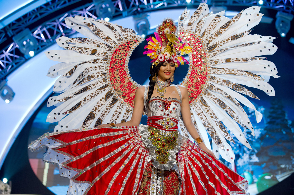 Description of . Miss Indonesia 2012, Maria Selena, performs onstage at the 2012 Miss Universe National Costume Show on Friday, Dec. 14, 2012 at PH Live in Las Vegas, Nevada. The 89 Miss Universe Contestants will compete for the Diamond Nexus Crown on Dec. 19, 2012. (AP Photo/Miss Universe Organization L.P., LLLP)