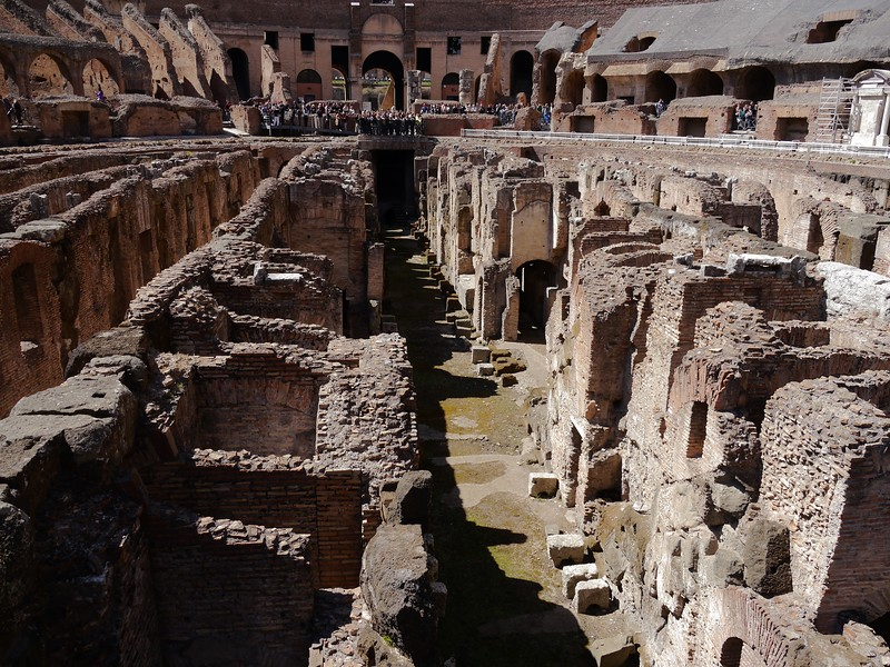 view of the substructure of the colosseum