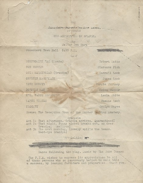 Jonesboro PTA presents The Adventures of Grandpa Dec 17 1949