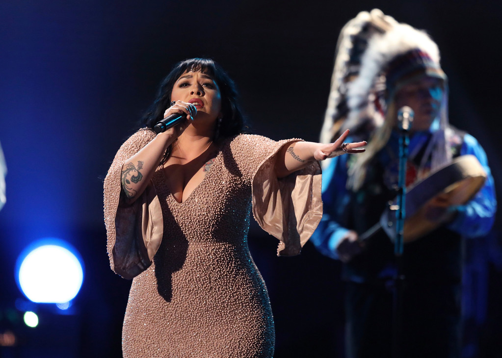 . Mexican singer Carla Morrison performs at the 59th annual Grammy Awards on Sunday, Feb. 12, 2017, in Los Angeles. (Photo by Matt Sayles/Invision/AP)