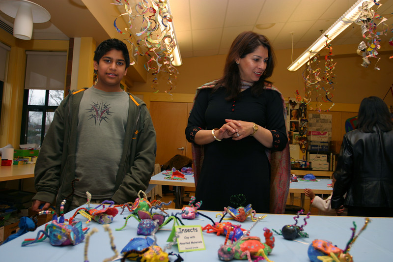 Zeryab and Saadia looking at insect art!