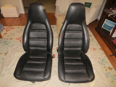 Black leather seats assembled